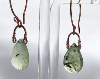 Huldra Mossy Prehnite Earrings. Faceted Prehnite Pear Drops. Rose Gold Plated Hand Forged Ear-wires.