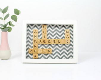 Custom Scrabble Inspired Wall Art Frame Small, Scrabble Inspired Word Art, Fabric Art, Personalised Scrabble Gift, FREE UK SHIPPING