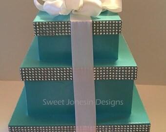 Aqua Blue Boxes Gift Box  Centerpiece Boxes Wedding Baby Shower Birthday