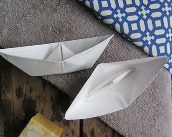 Set of 2 waterproof boats for the bath, bath toys, paper toys, french toys, waterproof paper toy