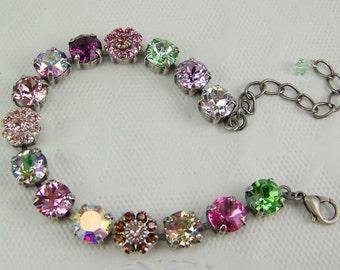 Swarovski Crystal Bracelet, Tennis bracelet, Cup Chain Bracelet, Chaton Bracelet, Rivoli Bracelet,Swarovski Flower Bracelet,Rose Garden,39ss