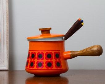 Orange Fondue Pot Enameled Graphic Flowers