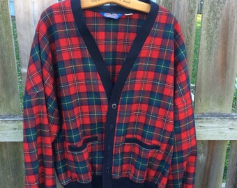 Red plaid vintage Pendleton wool cardigan jacket