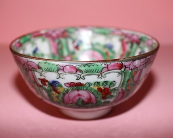 Vintage Chinese Export Famille Rose Canton Porcelain Rice Bowl