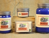 Blueberry Scented Candle, Blueberry Scented Wax Tarts, 26 oz, 12 oz, 4 oz Jar Candles or 3.5 Clam Shell Wax Melts