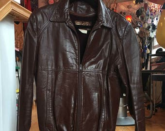 1990's Vintage Brown Leather Bomber Jacket