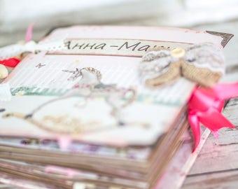 Newborn baby girl first year memory book , Baby shower gift, Custom made memory book, Baptism gift, Newborn girl gift, family photo album