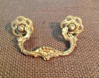 Antique ornate gilded brass drawer handle pull restoration furniture hardware French provencial romantic cottage chic home decor