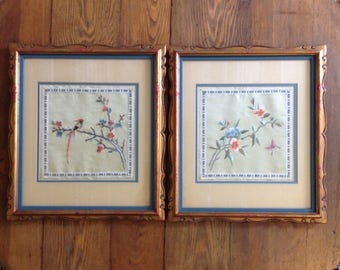 Pair of framed Chinese silk embroidery panel textile fiber art wall hanging bird butterfly floral boho chic Asian chinoiserie home decor