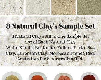 8 Natural Clay Sample Set, Soap Colorant, Soap Dye, Soap Supplies, Soap Making Supply Oxide Pigment Powder Iron Oxide Powder Bath Bomb Color