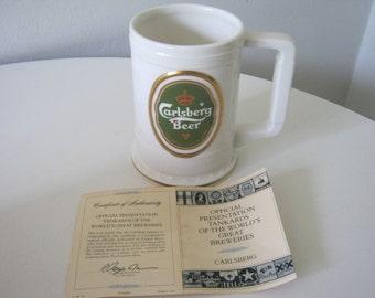 Vintage 1988 Carlsberg Beer Tankard Stein Mug W/Certificate of Authenticity
