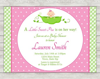 Sweet Pea Girl Baby Shower Invitation, Pink Sweet Pea Baby Shower Invitation (Available As Printable File or Printed Invitations)