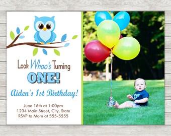 Owl Boy Birthday Invitation, Owl Invite Owl Invitation - Printable File or Printed Invitations