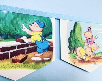 THREE LITTLE PIGS little golden book storybook banner garland baby shower bunting disney nursery decor storybook banner childrens