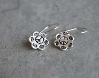 Peace and Love Earrings Sterling Silver French Wire Flower Blossom Eco Friendly Reclaimed Silver