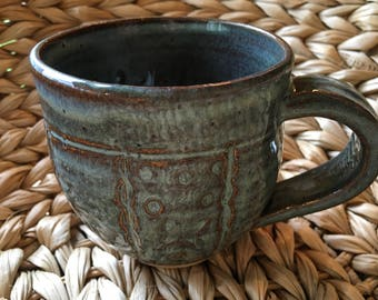 Delightful Blue Green Pottery Ceramic Wheel Thrown Mug Dragonflies & Butterflies