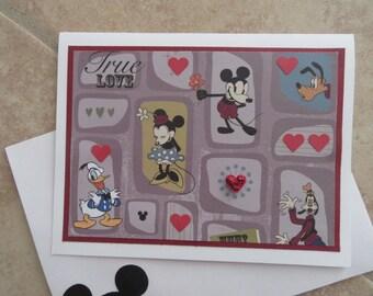 TRUE LOVE Vintage Mickey & Minnie Card