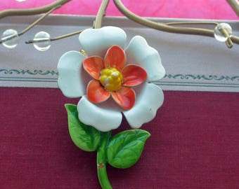 SALE! Daffodil Flower Brooch, Multi Color - Enameled, Vintage - Stunning!
