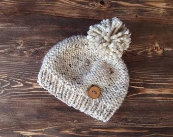 Cream kid beanie, kid hat, kid beanie, cabin beanie, toddler hat, toddler beanie, kid hat with large pompom and wood button