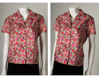 Vintage 1950s 60s Pink Blue and Beige Floral Button Up Blouse Shirt || Medium ||
