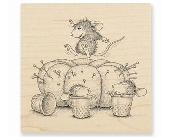 Stampendous House Mouse Pincushion Rubber Stamp