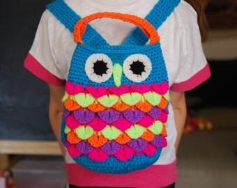 Gift under 30euros.Cute Kids owl bag. Crochet backpack for toddlers. Owl like bag. Birthday gift. Hot pink, yellow, orange, sky blue, mauve