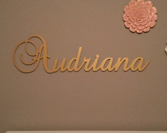 Wooden Name - Name Wall Hanging - Nursery Wall Hanging - Dorm Room Wall Hanging - Gold Name
