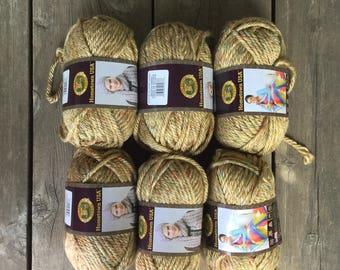 Lion Brand Hometown USA Yarn - Wichita Tweed - 6 skeins - Destash - Super Bulky Weight Yarn - Tweed Yarn