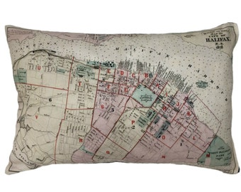 City of Halifax Vintage Map Pillow - FREE SHIPPING