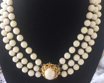 RARE vintage DeCola signed white milk glass tri beaded brooch necklace