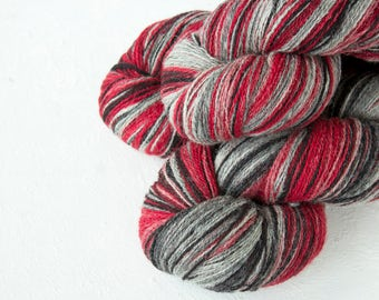 Gradient Aade Long artistic wool, Yarn for knitting, crochet. Red Black Grey White gradient yarn