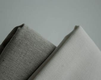 Linen-cotton fabric  160g/m weight fabric for sewing, Natural white, grey linen/cotton fabric