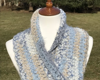 Cowl, Circle Scarf, Infinity Cowl, Twisted Cowl, Twisted Infinity Cowl, Gift for her, Cowl, Loop Cowl, Elegant Scarf, Blue, Cream, Tan