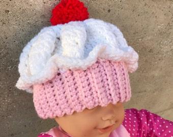 Strawberry Cupcake Baby Hat - 3-9 months