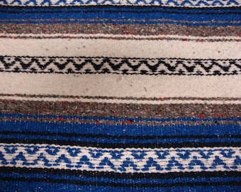 Mexican Falsa Blanket Black White and Blue