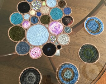 Handmade Crocheted Colourful Table Runner and Four Coasters