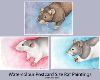 Original Watercolour Rat Paintings on A6 sized postcards