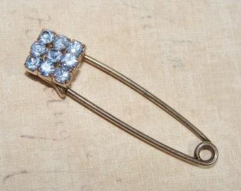 Vintage ~ Kilt Pin ~ Baby Blue Rhinestones ~ Safety Pin ~ Brooch