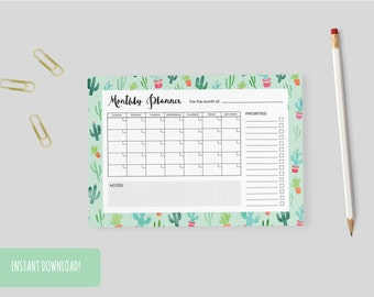 Monthly Planner Cacti A4 Interactive and Printable Files Included INSTANT DOWNLOAD