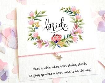 Wish String Bracelet Bride Wedding Wreath Favour Card Friendship Hen Party A111 Keepsake Vintage