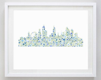 Chicago Skyline Floral Watercolor Print