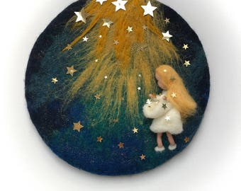 The star money fairy tale ,Grimm,The star talers,Story,Waldorf,Picture,tapestry,Wet Felted,Needle Felted.Wall hanging,Wool painting
