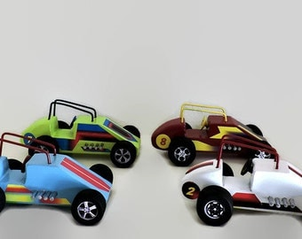 Wooden toy cars, Set of 4 wooden toy race cars