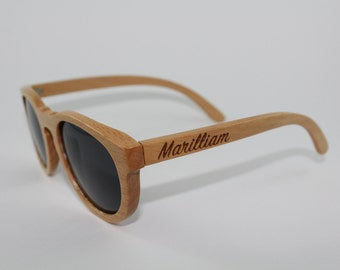 10% off! Vintage Inspired Hand Crafted Bamboo Sunglasses with Black Polarised Lens