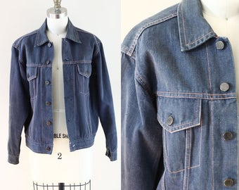 1970s Denim Jacket // pink stitch jean jacket // vintage denim jacket
