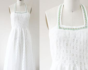 1970s cotton eyelet halter dress // summer dress // vintage dress