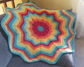 Bright Rainbow Star Baby Blanket