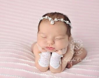 Pearl rhinestone headband and matching lace gloves