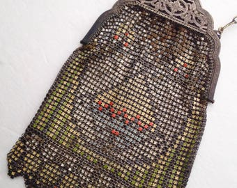 1920s Whiting and Davis Art Deco Enameled Mesh Purse Metal Mesh Purse Flapper Antique Evening Bag Geometric Design Lime Green Coral Yellow