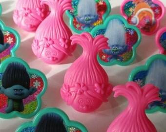 24 TROLLS DreamWorks rings for cupcake toppers cake birthday party favors hair Poppy Branch DJ Suki Guy Diamond Biggie Cooper